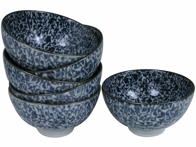 Intricate Blue and White Vine Motif Japanese Rice Bowls Set for Six