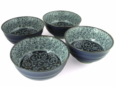 Rustic Dark Green, Blue and Cream Karakusa Ceramic Bowl Set for Four