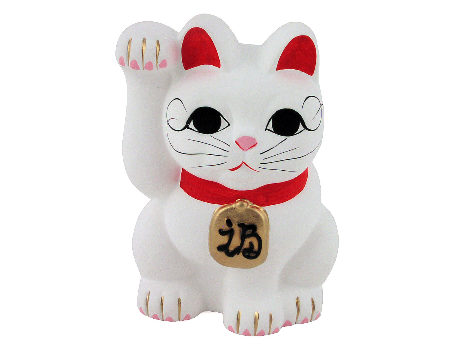 Small Traditional White Ceramic Lucky Cat Figurine