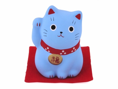 Tiny Light Blue Japanese Maneki Neko