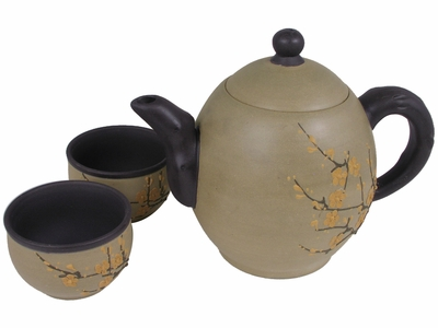 Minimalist's Earth Tone Golden Plum Blossom Yixing Gift Teapot Set