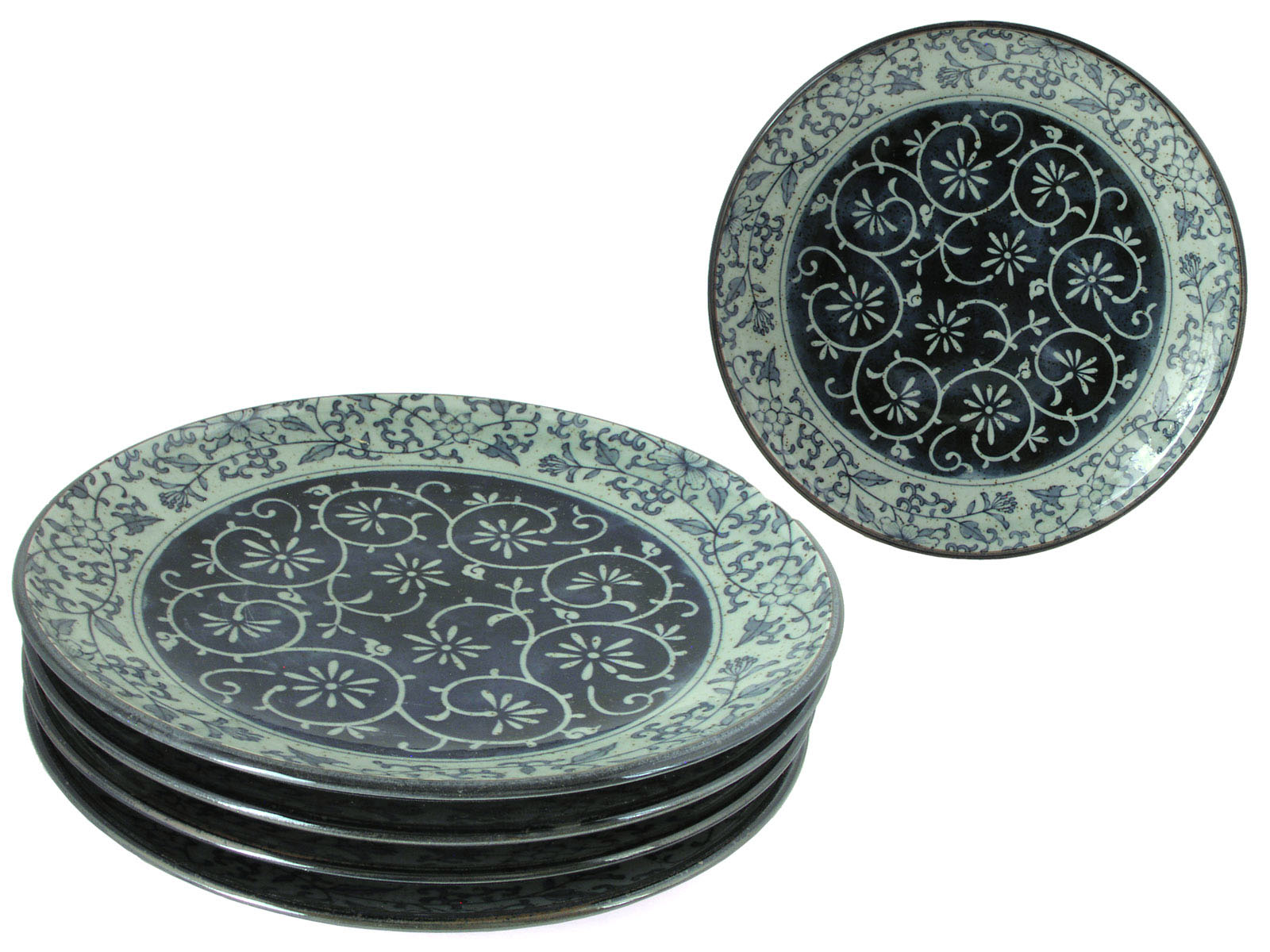 Rustic Dark Green Blue And Cream Karakusa Dinner Plate Set For Four
