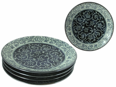 Rustic Dark Green, Blue and Cream Karakusa Dinner Plate Set for Four