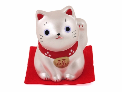 Tiny Metallic White Maneki Neko Cat