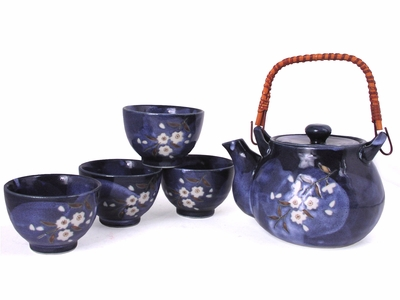 Luminous White Cherry Blossoms Deep Blue Tea Set