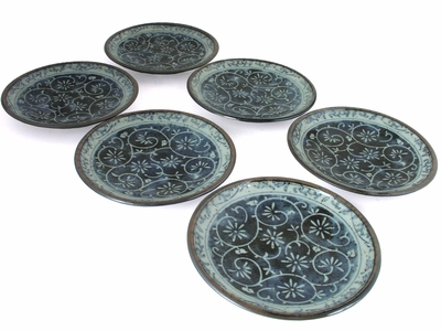 Rustic Dark Green, Blue and Cream Karakusa Saucer Set for Six