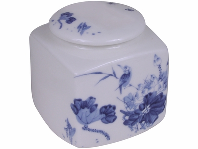 Pale Blue and White Lotus and King Fisher Porcelain Tea Canister
