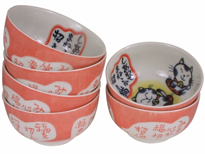 Adorable Peach Porcelain Maneki Neko Rice Bowl Set for Six