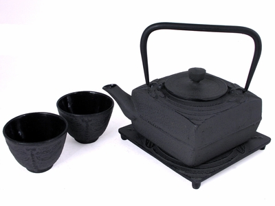 Black Dragonfly Motif Square Metal Teapot Set for Two