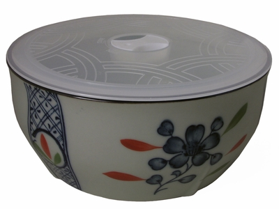 Large Blue Plum Blossom on White Ceramic Noodle Bowl with Lid