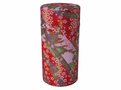 Vibrant Red Traditional Japanese Washi Tea Tin