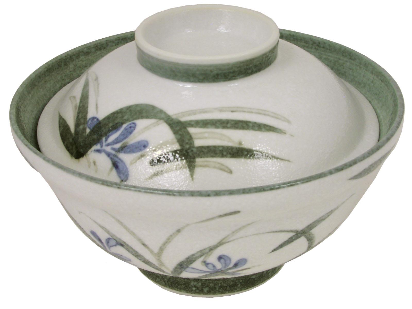 Single Serving White And Green Floral Donburi Bowl