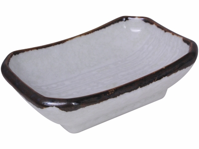 Contemporary Brown on White Octagonal Ceramic Saucer
