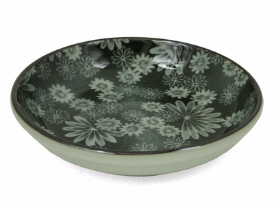 Pale Green and Seaweed Color Floral Ceramic Dish