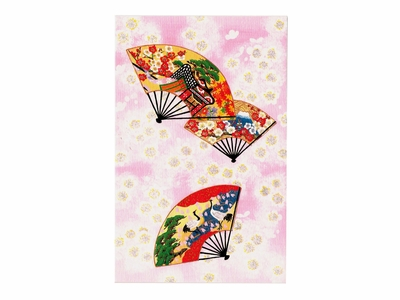 Asian Fans and Pink Cherry Blossom Prints Greeting Card (Blank)