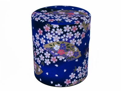 Sky Blue Cherry Blossoms and Fan Traditional Washi Tea Container