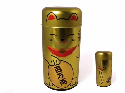 Gold Maneki Neko Tea Canister