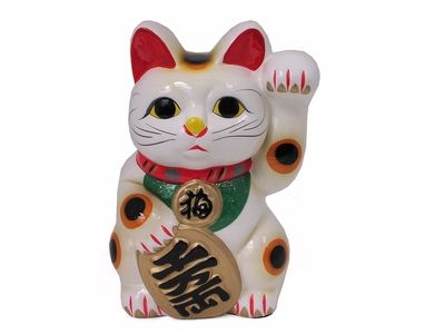Five and a Quarter Inch White Maneki Neko