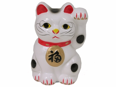 Four Inch Left Paw Raised Maneki Neko Bank