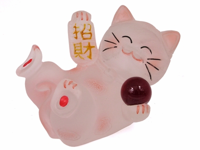 Frosted Red Reclining Maneki Neko