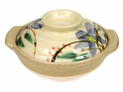 Large Floral and Cream Color Earthen Donabe Clay Pot
