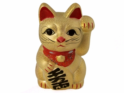Golden Clay Maneki Neko Coin Bank