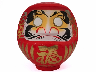 Medium Red and Gold Japanese Daruma Doll