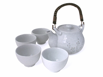 White Porcelain Tea Set with Gray Cherry Blossoms
