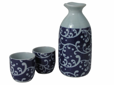 Charming Blue and White Japanese Karakusa Sake Set for Two