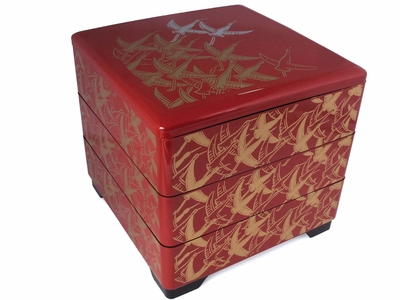 Gold Flock of Swallow Red Three Trays Stackable Bento Box