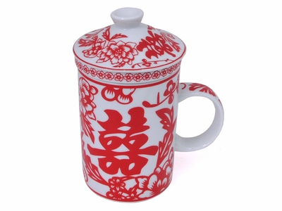 Red and White Double Happiness Mug