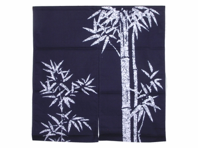 Navy Blue and White Bamboo Noren Curtain