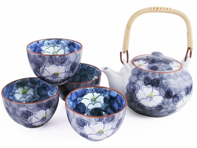 Modernist's Peonies in Blue Tea Set for Four