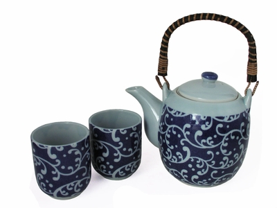 Charming Blue and White Karakusa Japanese Tea Sets for Two