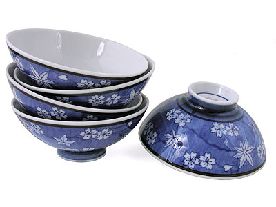Set of Five Blue and White Cherry Blossom Japanese Rice Bowls