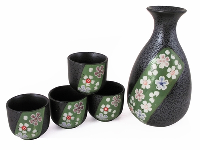 Cherry Blossoms Galore Forest Green and Metallic Glaze Sake Bottle Set