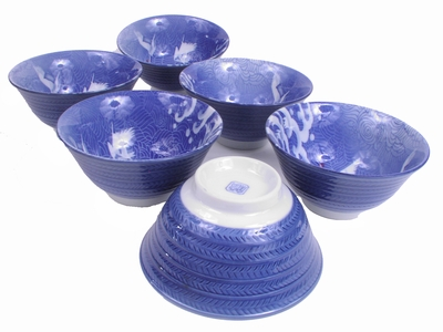 5-1/4 Inch Cranes in Flight and White Waves Bowl Set (Set of Six)