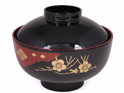 Black, Red and Gold Lacquer Rice Bowl With Lid