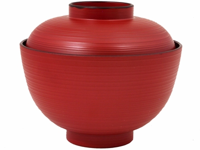 Red Lined Miso Bowl With Lid