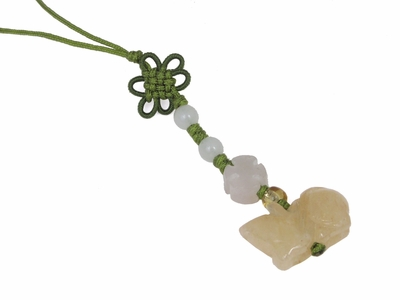 Small Genuine Jade Chinese Knot Rat Charm