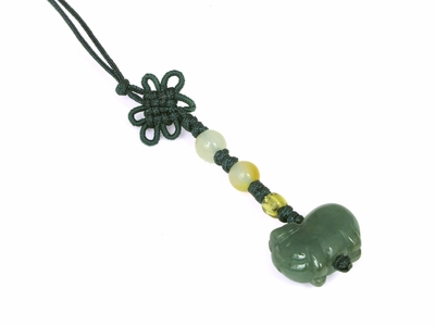 Small Genuine Jade Chinese Knot Pig Charm
