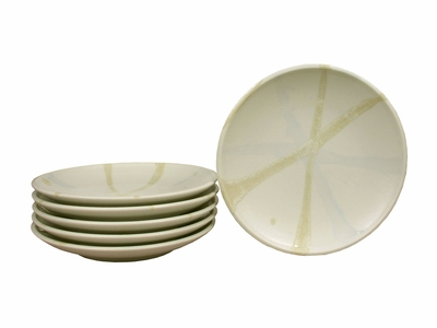 Six Piece Cream and Pastel Japanese Ceramic Plate Set (Only 2 Sets Available)
