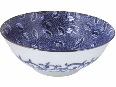 Blue and White Floral Karakusa print Large Japanese Noodle Bowl