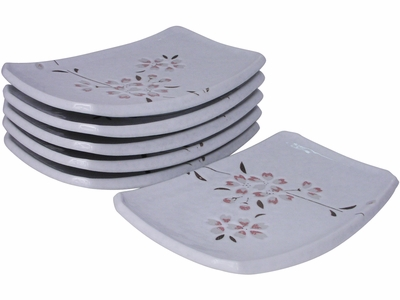 Peach Cherry Blossoms on White Porcelain Appetizer Plate Set for Six (Last 2 Sets)