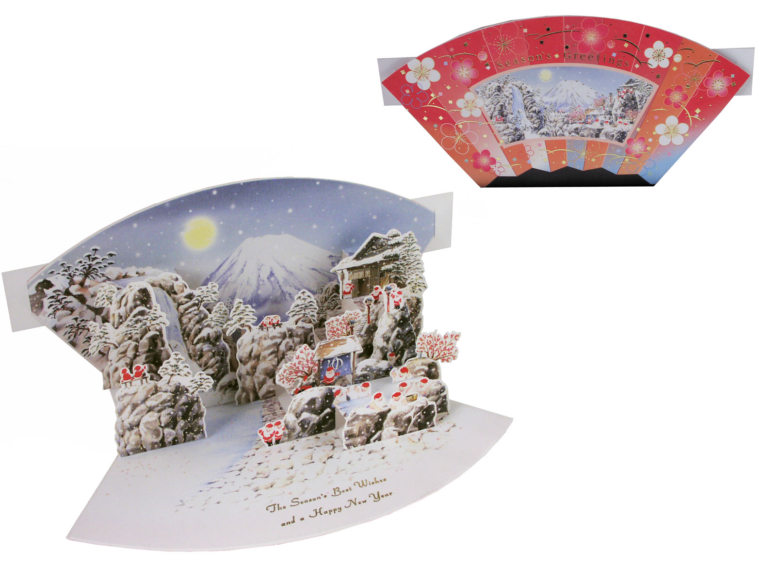 Santa in Mount Fuji Cute Japanese Pop-up Christmas Card