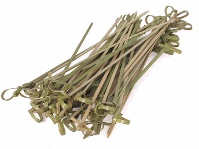 Olive Green Knotted Multi-Purpose Bamboo Skewers Pack of 50