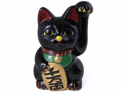Black Ceramic Japanese Maneki Neko