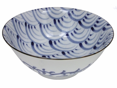 Nami Wave Pattern Japanese Noodle Bowl