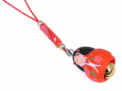 Japanese Girl in Red Kimono Bell Charm