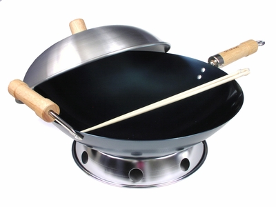 4 Piece 14 Inch Double Handle Pre-Seasoned Round Bottom Wok Set